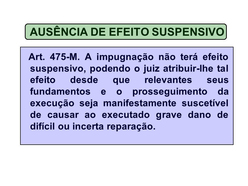 AUSÊNCIA DE EFEITO SUSPENSIVO Art.475-M.