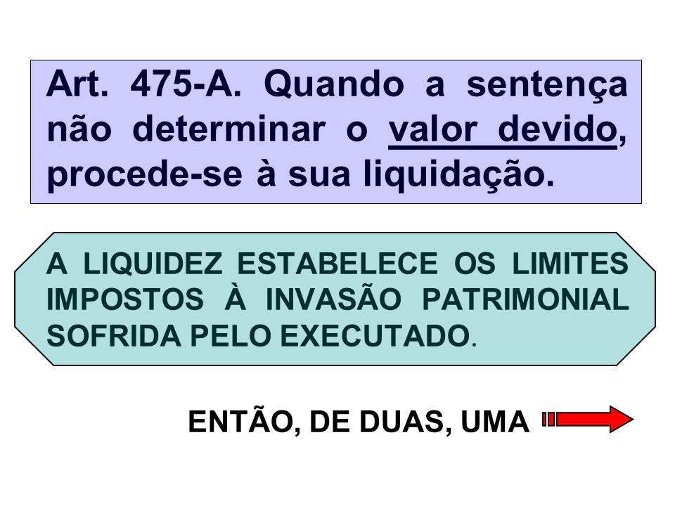 Art.475-A. Quando a sentença não determinar o valor devido, procede-se à sua liquidação.