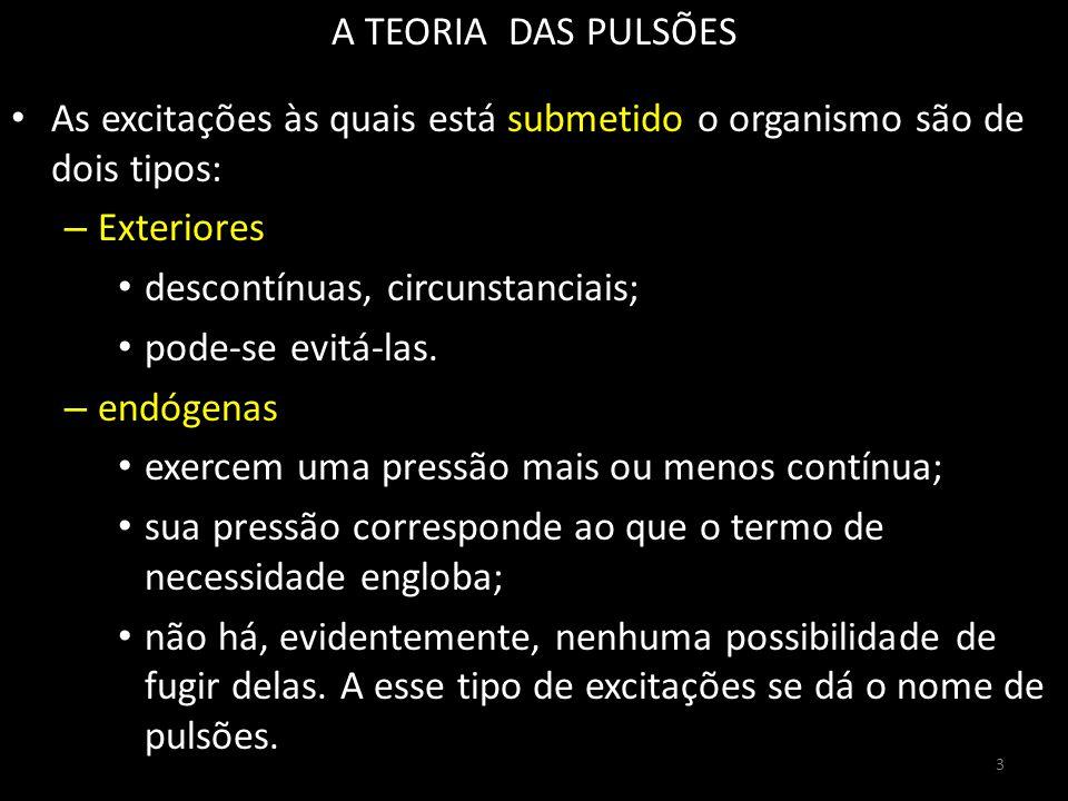 A TEORIA DAS PULSÕES As excitações às quais está submetido o organismo são de dois tipos: – Exteriores descontínuas, circunstanciais; pode-se evitá-las.