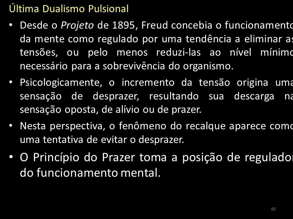 Última Dualismo Pulsional Desde o Projeto de 1895, Freud concebia o funcionamento da mente como regulado por uma tendência a eliminar as tensões, ou pelo menos reduzi-las ao nível mínimo necessário para a sobrevivência do organismo.