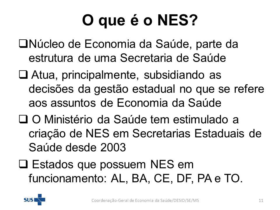 O que é o NES? Núcleo de Economia da Saúde, parte da estrutura de uma Secretaria de Saúde Atua, principalmente, subsidiando as decisões da gestão esta