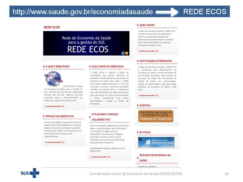Coordenação-Geral de Economia da Saúde/DESID/SE/MS14 http://www.saude.gov.br/economiadasaude REDE ECOS