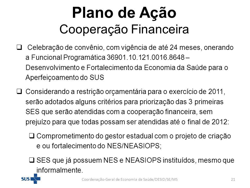 Plano de Ação Cooperação Financeira Celebração de convênio, com vigência de até 24 meses, onerando a Funcional Programática 36901.10.121.0016.8648 – D