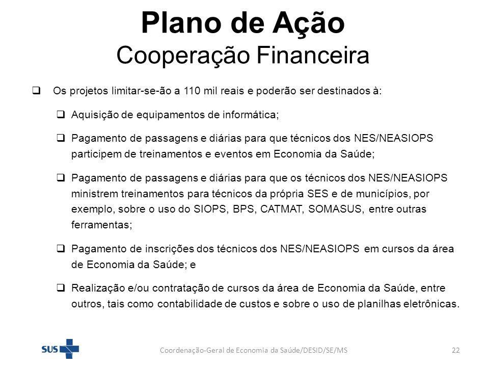 Plano de Ação Cooperação Financeira Os projetos limitar-se-ão a 110 mil reais e poderão ser destinados à: Aquisição de equipamentos de informática; Pa