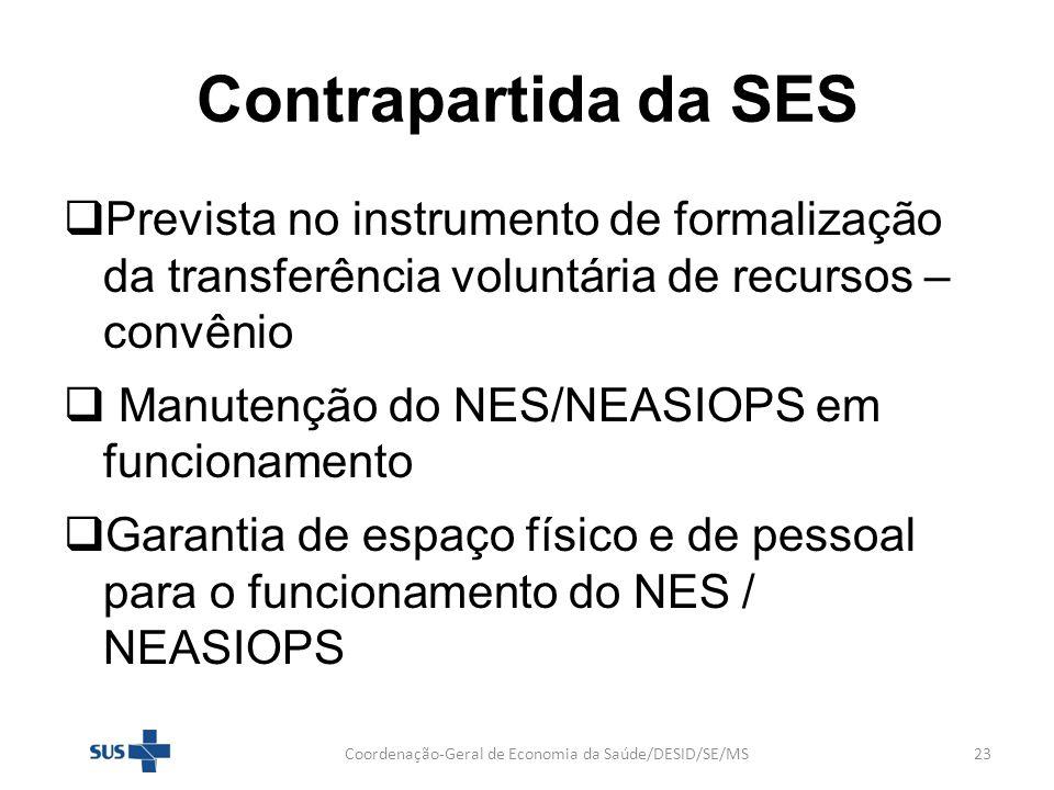 Contrapartida da SES Prevista no instrumento de formalização da transferência voluntária de recursos – convênio Manutenção do NES/NEASIOPS em funciona