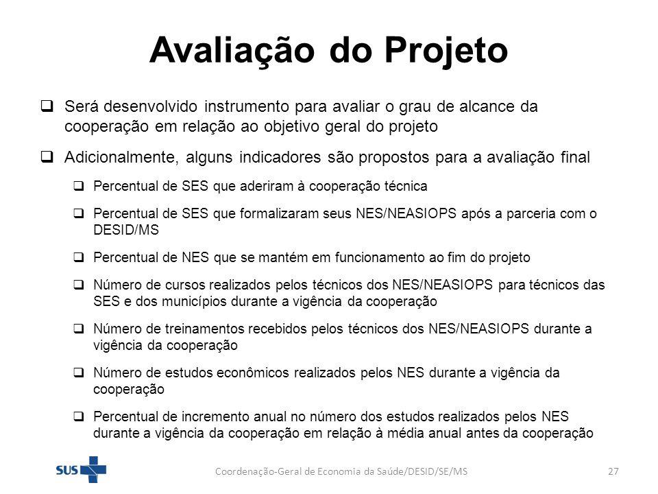 Avaliação do Projeto Será desenvolvido instrumento para avaliar o grau de alcance da cooperação em relação ao objetivo geral do projeto Adicionalmente
