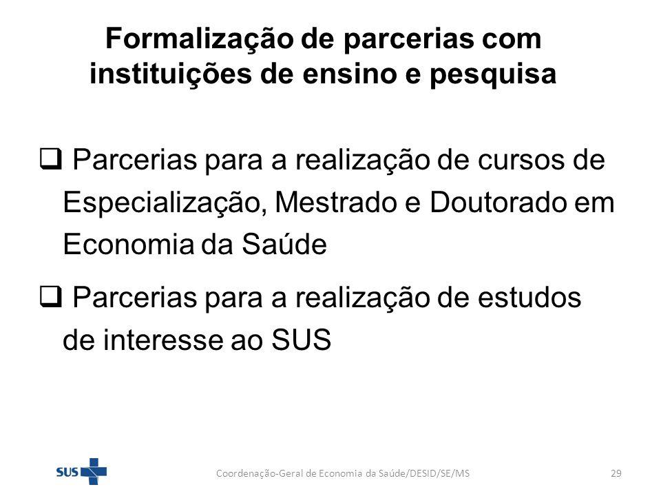 Formalização de parcerias com instituições de ensino e pesquisa Parcerias para a realização de cursos de Especialização, Mestrado e Doutorado em Econo