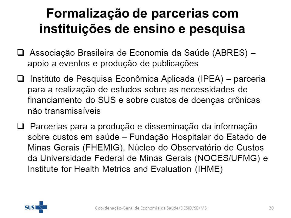 Formalização de parcerias com instituições de ensino e pesquisa Associação Brasileira de Economia da Saúde (ABRES) – apoio a eventos e produção de pub