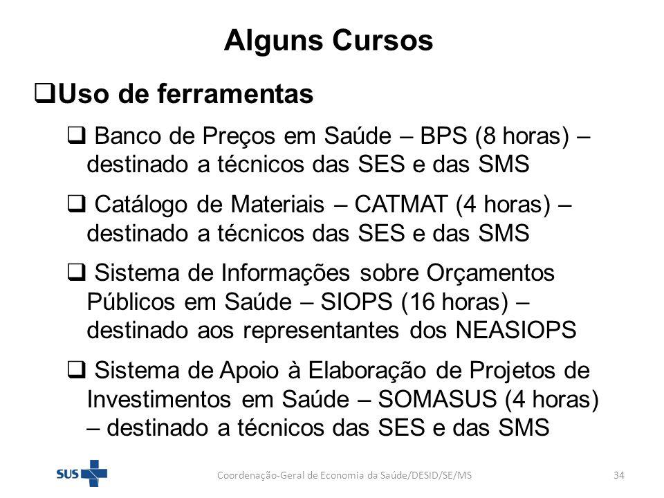Alguns Cursos Uso de ferramentas Banco de Preços em Saúde – BPS (8 horas) – destinado a técnicos das SES e das SMS Catálogo de Materiais – CATMAT (4 h