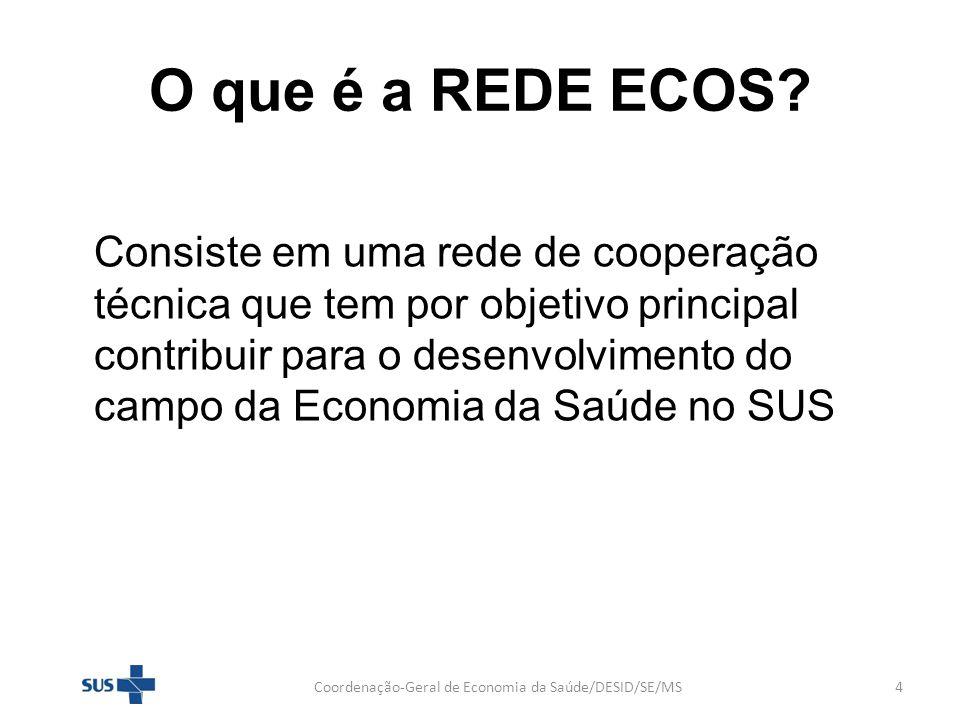O que é a REDE ECOS? Consiste em uma rede de cooperação técnica que tem por objetivo principal contribuir para o desenvolvimento do campo da Economia