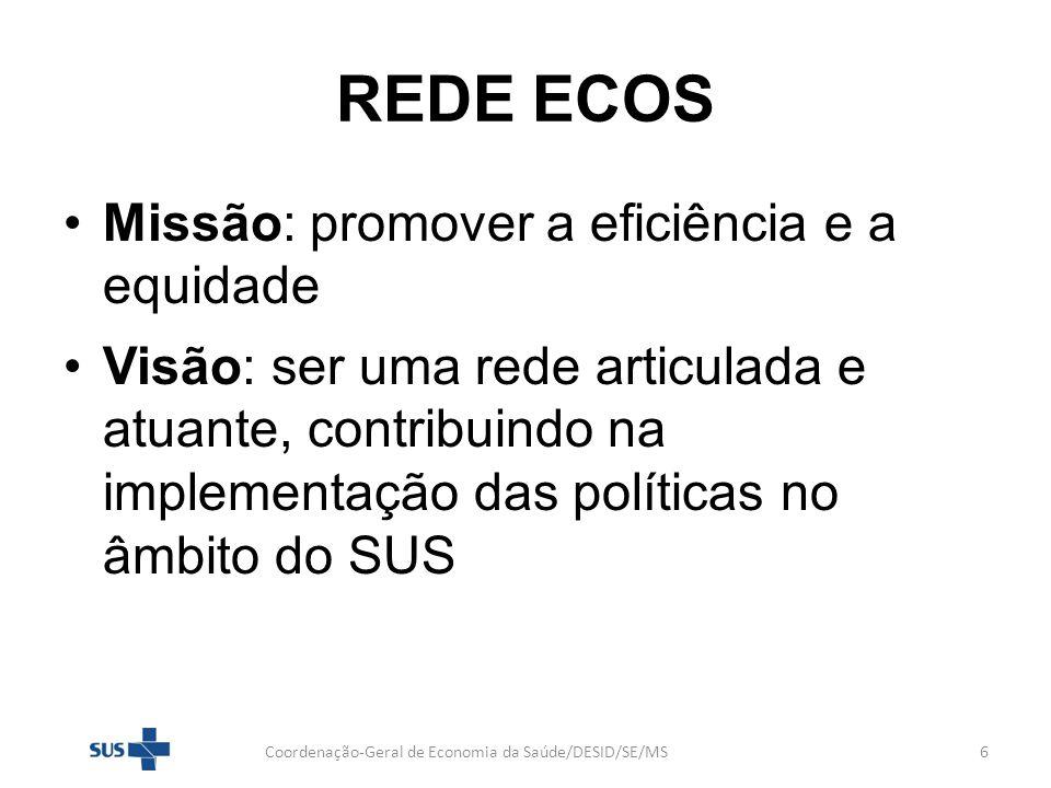 REDE ECOS Missão: promover a eficiência e a equidade Visão: ser uma rede articulada e atuante, contribuindo na implementação das políticas no âmbito d