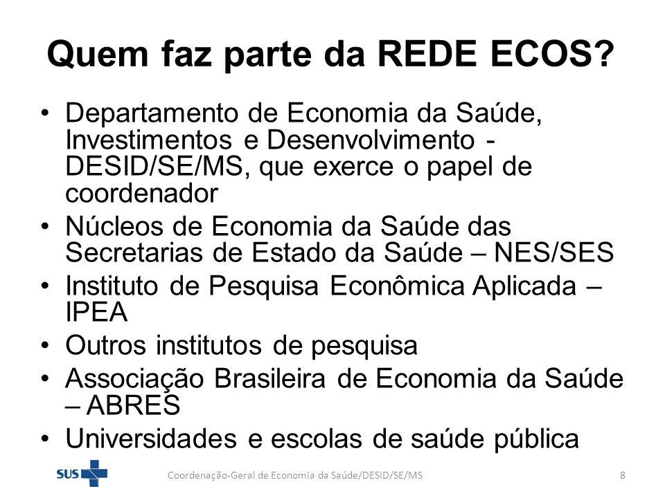 Participação na REDE ECOS Coordenação-Geral de Economia da Saúde/DESID/SE/MS9 Está aberta a todas as instituições que queiram trabalhar em rede e cooperar para o aperfeiçoamento da gestão do SUS, por meio da aplicação do conhecimento em Economia da Saúde