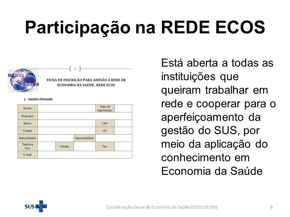 Participação na REDE ECOS Coordenação-Geral de Economia da Saúde/DESID/SE/MS9 Está aberta a todas as instituições que queiram trabalhar em rede e coop
