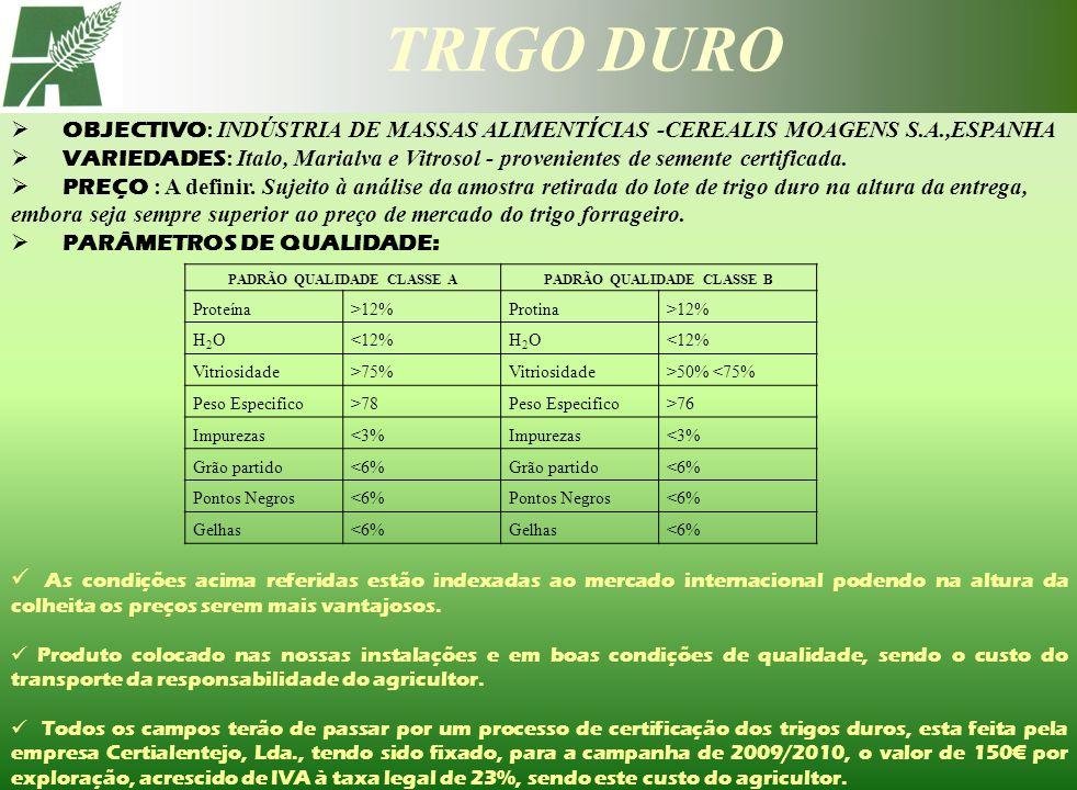 TRIGO DURO PADRÃO QUALIDADE CLASSE APADRÃO QUALIDADE CLASSE B Proteína>12%Protina>12% H2OH2O<12%H2OH2O Vitriosidade>75%Vitriosidade>50% <75% Peso Espe
