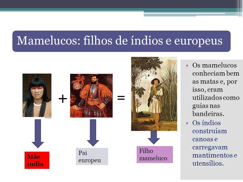 Mamelucos: filhos de índios e europeus Os mamelucos conheciam bem as matas e, por isso, eram utilizados como guias nas bandeiras. Os índios construíam