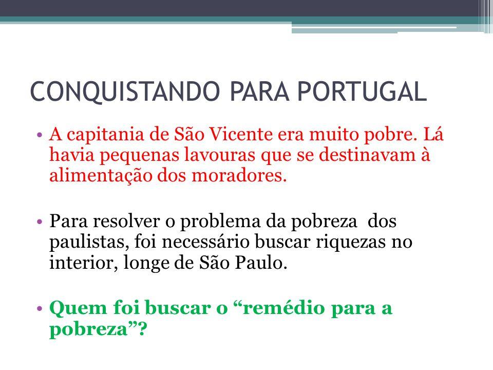 CONQUISTANDO PARA PORTUGAL A capitania de São Vicente era muito pobre. Lá havia pequenas lavouras que se destinavam à alimentação dos moradores. Para