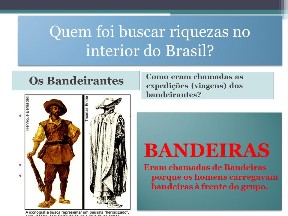 Quem foi buscar riquezas no interior do Brasil? Os Bandeirantes Como eram chamadas as expedições (viagens) dos bandeirantes? Os bandeirantes - Homens