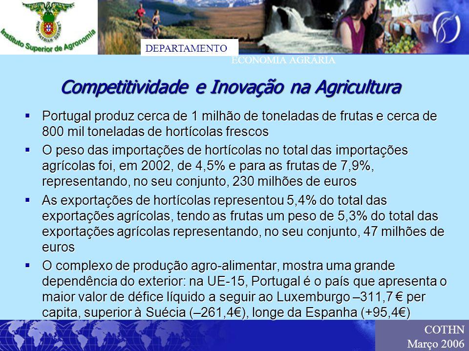DEPARTAMENTO ECONOMIA AGRÁRIA COTHN Março 2006 Portugal produz cerca de 1 milhão de toneladas de frutas e cerca de 800 mil toneladas de hortícolas fre