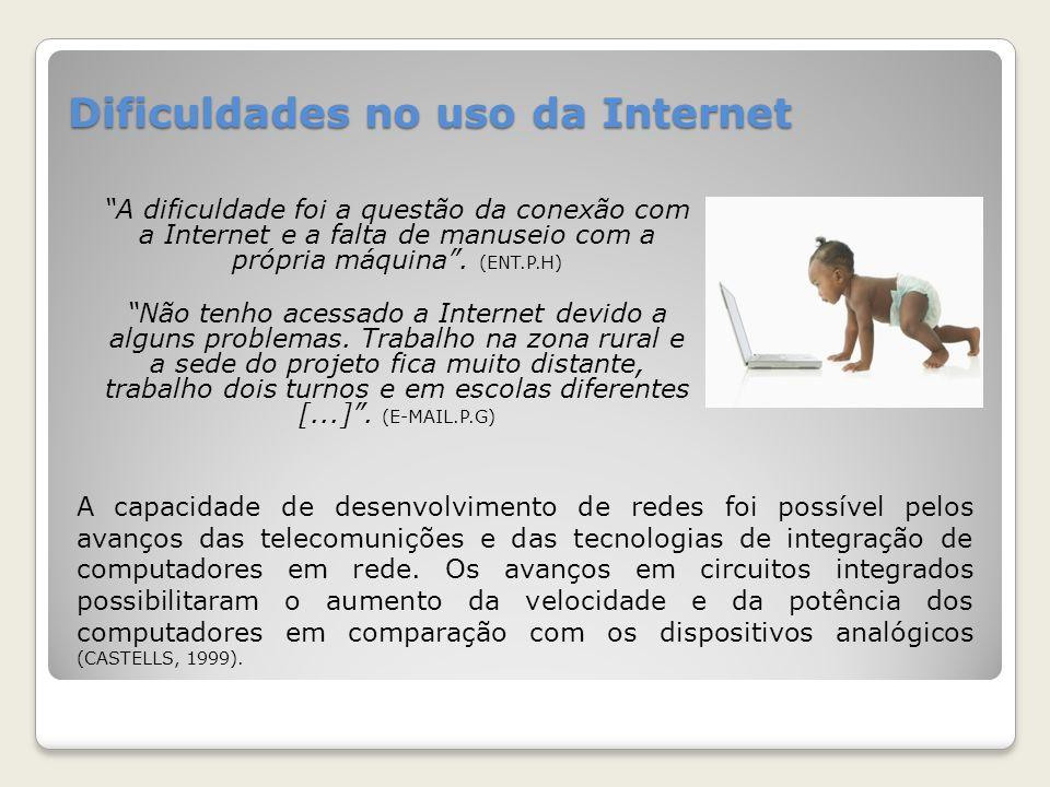 Dificuldades no uso da Internet A dificuldade foi a questão da conexão com a Internet e a falta de manuseio com a própria máquina. (ENT.P.H) Não tenho