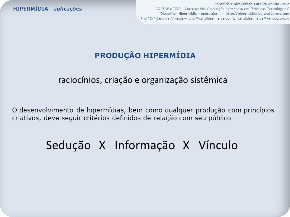 Pontifícia Universidade Católica de São Paulo COGEAE e TIDD - Curso de Pós-Graduação Lato Sensu em Estéticas Tecnológicas Disciplina: Hipermídia – aplicações - http://hipermidiablog.wordpress.com Profª Drª Cândida Almeida – prof@candidaalmeida.com.br candidaalmeida@yahoo.com.br PRODUÇÃO HIPERMÍDIA raciocínios, criação e organização sistêmica O desenvolvimento de hipermídias, bem como qualquer produção com princípios criativos, deve seguir critérios definidos de relação com seu público Sedução X Informação X Vínculo HIPERMÍDIA - aplicações