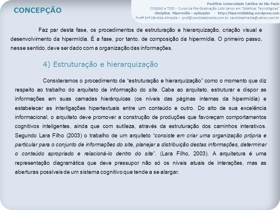 Pontifícia Universidade Católica de São Paulo COGEAE e TIDD - Curso de Pós-Graduação Lato Sensu em Estéticas Tecnológicas Disciplina: Hipermídia – aplicações - http://hipermidiablog.wordpress.com Profª Drª Cândida Almeida – prof@candidaalmeida.com.br candidaalmeida@yahoo.com.br Faz par desta fase, os procedimentos de estruturação e hierarquização, criação visual e desenvolvimento da hipermídia.