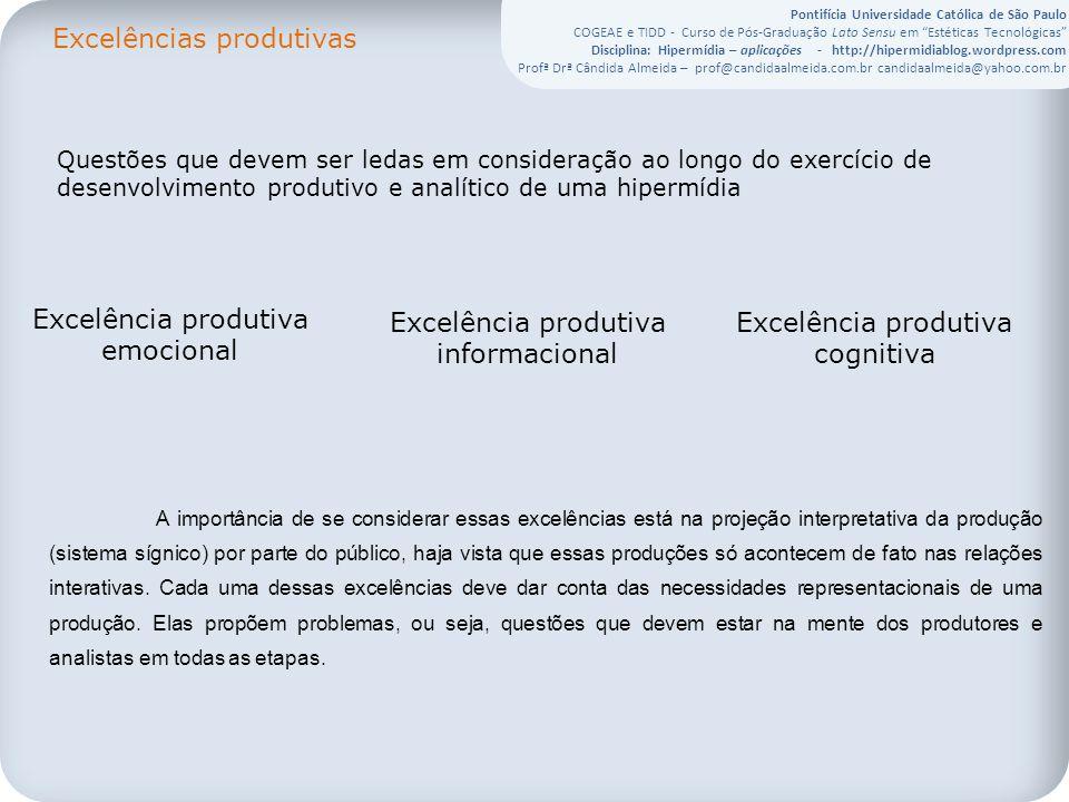 Pontifícia Universidade Católica de São Paulo COGEAE e TIDD - Curso de Pós-Graduação Lato Sensu em Estéticas Tecnológicas Disciplina: Hipermídia – aplicações - http://hipermidiablog.wordpress.com Profª Drª Cândida Almeida – prof@candidaalmeida.com.br candidaalmeida@yahoo.com.br Questões que devem ser ledas em consideração ao longo do exercício de desenvolvimento produtivo e analítico de uma hipermídia Excelência produtiva emocional Excelência produtiva informacional Excelência produtiva cognitiva Excelências produtivas A importância de se considerar essas excelências está na projeção interpretativa da produção (sistema sígnico) por parte do público, haja vista que essas produções só acontecem de fato nas relações interativas.