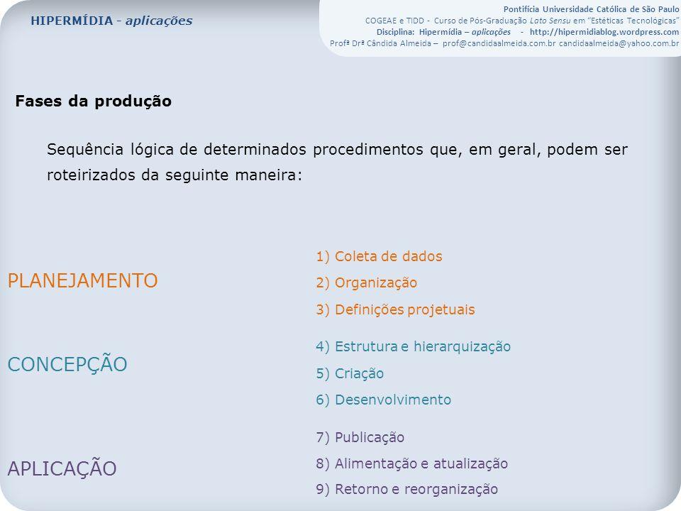 Pontifícia Universidade Católica de São Paulo COGEAE e TIDD - Curso de Pós-Graduação Lato Sensu em Estéticas Tecnológicas Disciplina: Hipermídia – aplicações - http://hipermidiablog.wordpress.com Profª Drª Cândida Almeida – prof@candidaalmeida.com.br candidaalmeida@yahoo.com.br Fases da produção Sequência lógica de determinados procedimentos que, em geral, podem ser roteirizados da seguinte maneira: 1) Coleta de dados 2) Organização 3) Definições projetuais 4) Estrutura e hierarquização 5) Criação 6) Desenvolvimento 7) Publicação 8) Alimentação e atualização 9) Retorno e reorganização PLANEJAMENTO CONCEPÇÃO APLICAÇÃO HIPERMÍDIA - aplicações