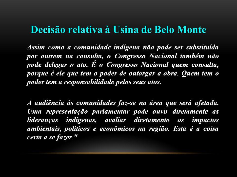 Decisão relativa à Usina de Belo Monte Assim como a comunidade indígena não pode ser substituída por outrem na consulta, o Congresso Nacional também não pode delegar o ato.