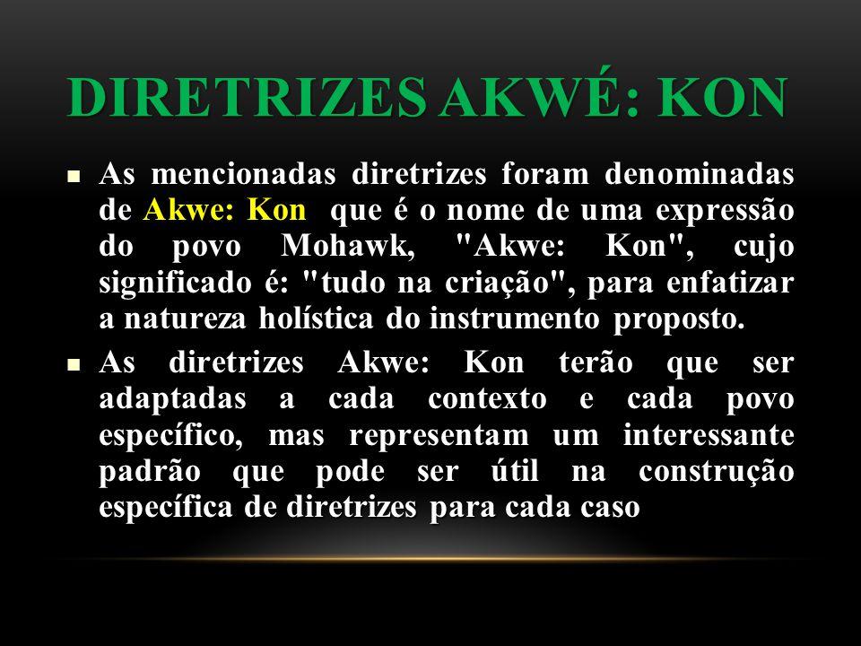 DIRETRIZES AKWÉ: KON As mencionadas diretrizes foram denominadas de Akwe: Kon que é o nome de uma expressão do povo Mohawk, Akwe: Kon , cujo significado é: tudo na criação , para enfatizar a natureza holística do instrumento proposto.