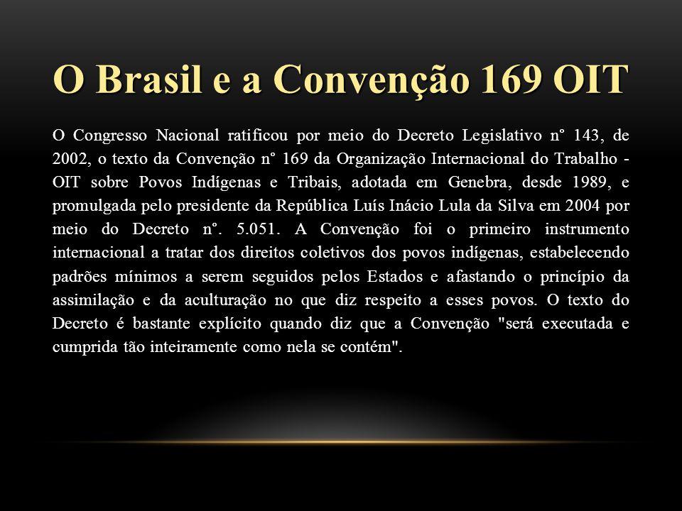 O Brasil e a Convenção 169 OIT O Congresso Nacional ratificou por meio do Decreto Legislativo n° 143, de 2002, o texto da Convenção n° 169 da Organização Internacional do Trabalho - OIT sobre Povos Indígenas e Tribais, adotada em Genebra, desde 1989, e promulgada pelo presidente da República Luís Inácio Lula da Silva em 2004 por meio do Decreto n°.