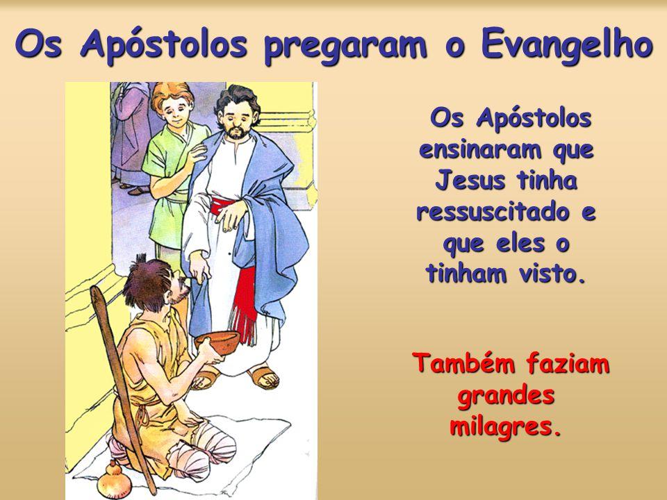 Os Apóstolos pregaram o Evangelho Os Apóstolos ensinaram que Jesus tinha ressuscitado e que eles o tinham visto.