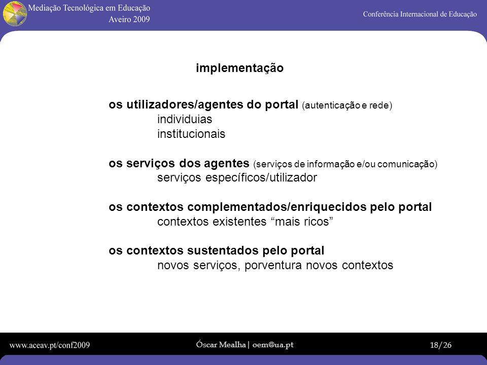 Óscar Mealha| oem@ua.pt 18/26 implementação os utilizadores/agentes do portal (autenticação e rede) individuias institucionais os serviços dos agentes