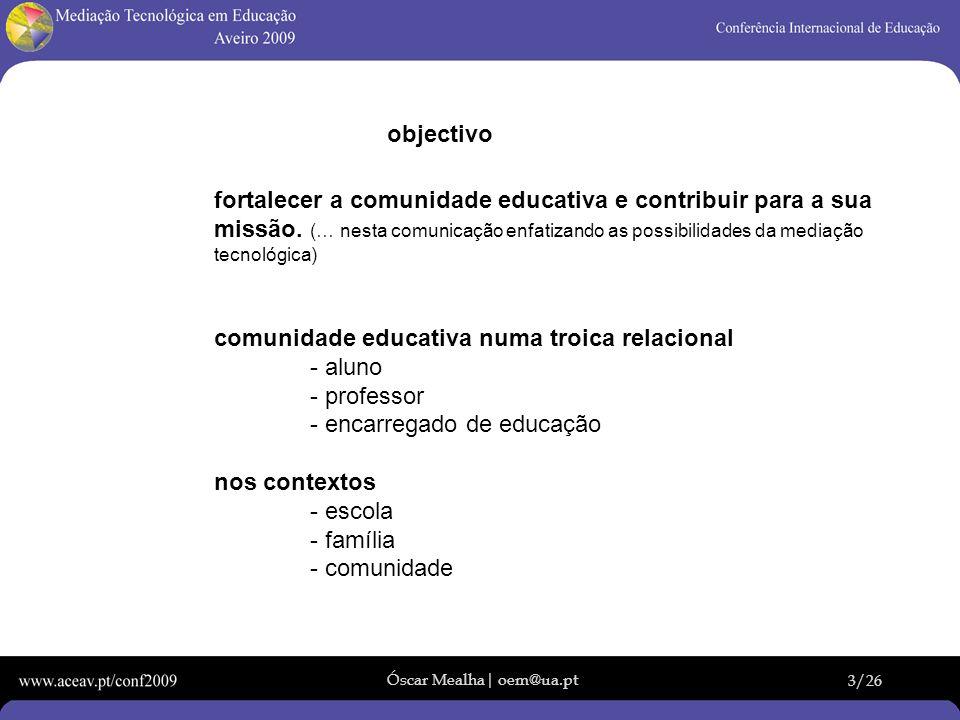 Óscar Mealha| oem@ua.pt 3/26 objectivo fortalecer a comunidade educativa e contribuir para a sua missão. (… nesta comunicação enfatizando as possibili
