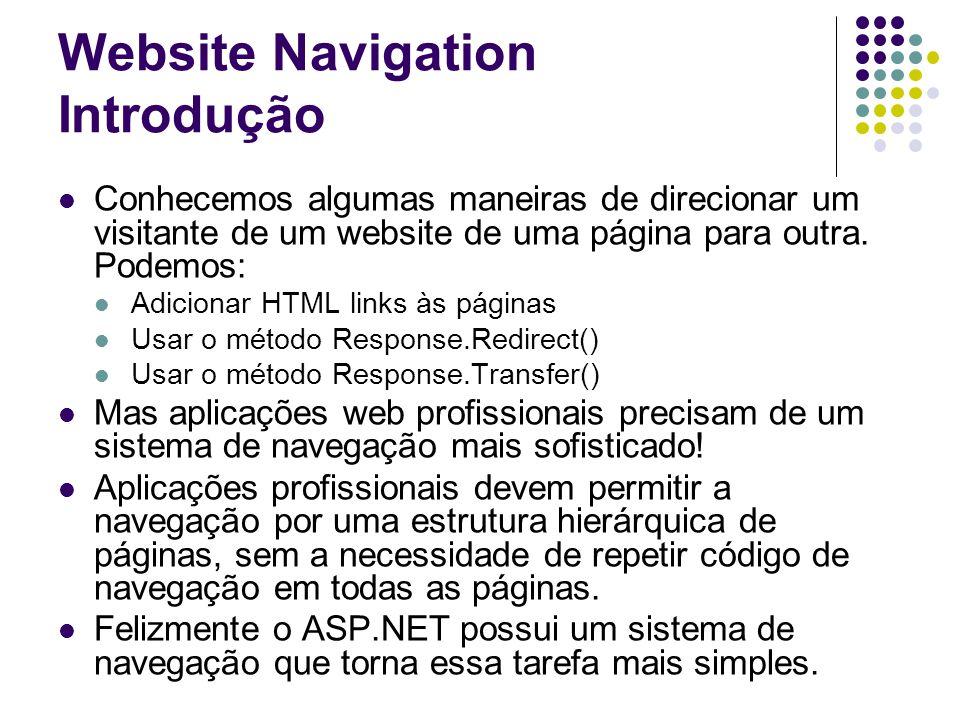 Website Navigation Introdução Conhecemos algumas maneiras de direcionar um visitante de um website de uma página para outra.