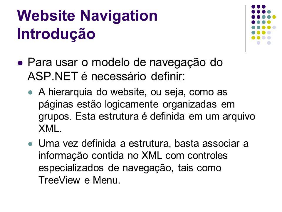 Website Navigation Introdução Para usar o modelo de navegação do ASP.NET é necessário definir: A hierarquia do website, ou seja, como as páginas estão logicamente organizadas em grupos.