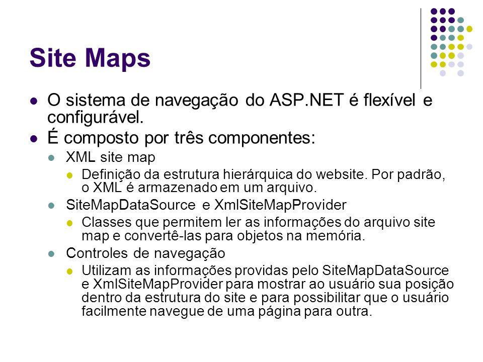 Site Maps O sistema de navegação do ASP.NET é flexível e configurável.