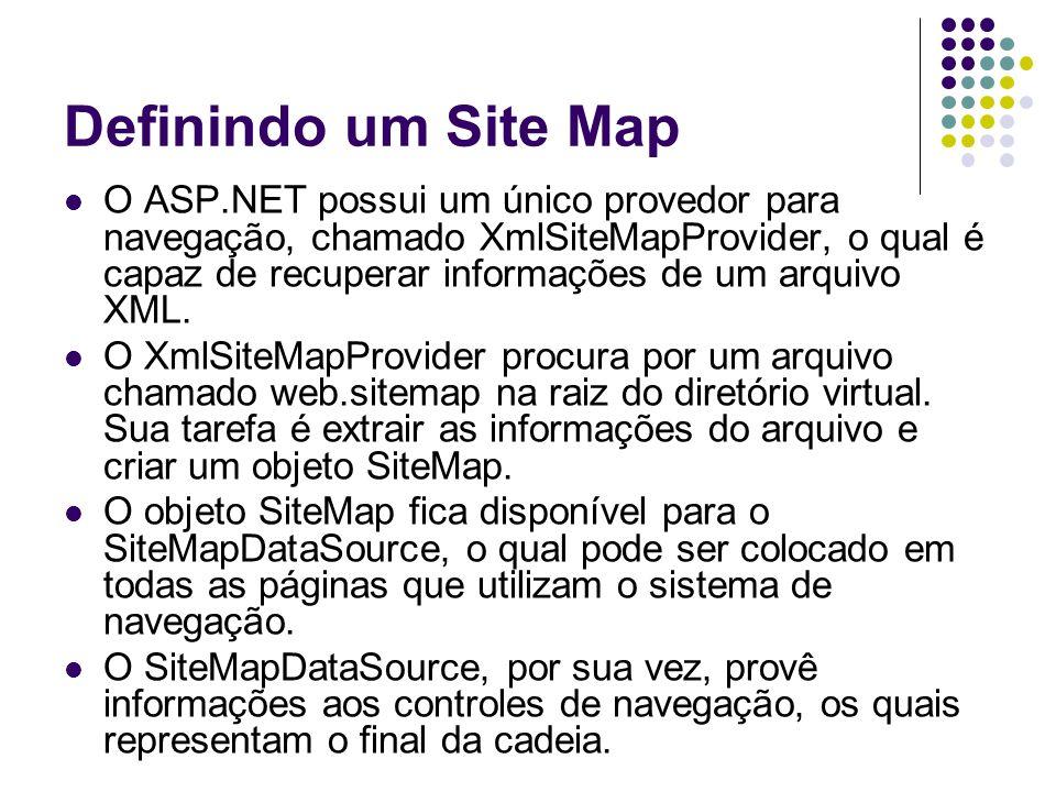 Definindo um Site Map O ASP.NET possui um único provedor para navegação, chamado XmlSiteMapProvider, o qual é capaz de recuperar informações de um arquivo XML.