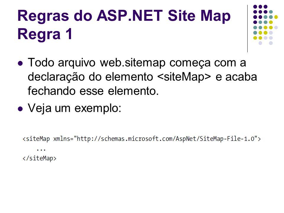 Regras do ASP.NET Site Map Regra 1 Todo arquivo web.sitemap começa com a declaração do elemento e acaba fechando esse elemento.