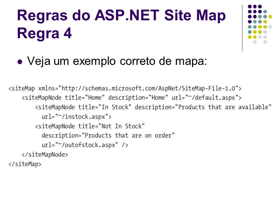 Regras do ASP.NET Site Map Regra 4 Veja um exemplo correto de mapa: