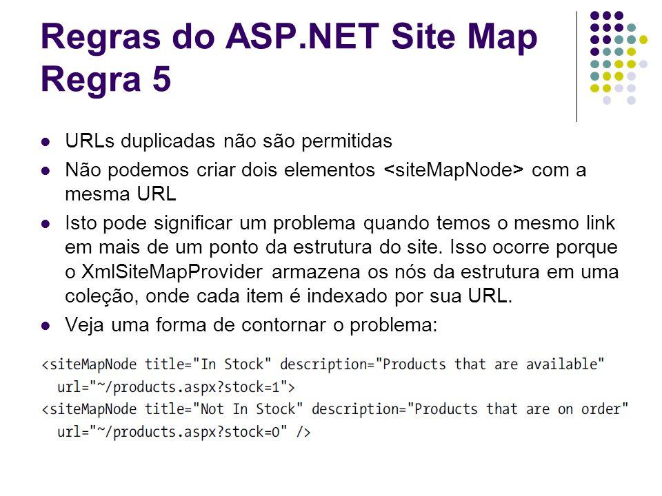 Regras do ASP.NET Site Map Regra 5 URLs duplicadas não são permitidas Não podemos criar dois elementos com a mesma URL Isto pode significar um problema quando temos o mesmo link em mais de um ponto da estrutura do site.
