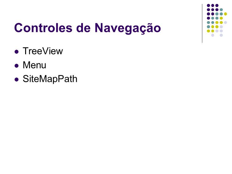 Controles de Navegação TreeView Menu SiteMapPath