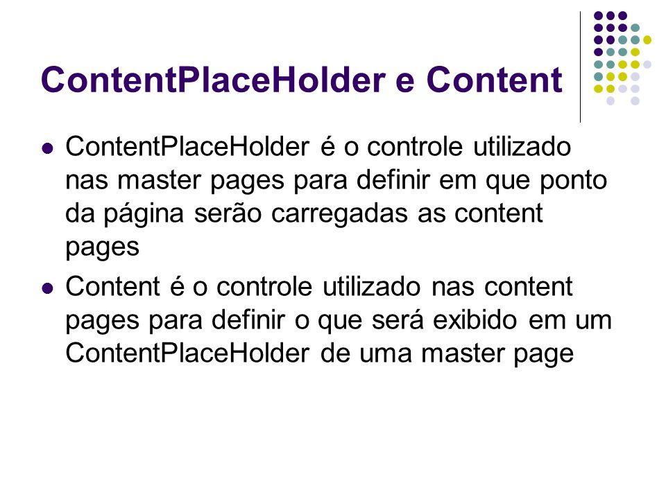 ContentPlaceHolder e Content ContentPlaceHolder é o controle utilizado nas master pages para definir em que ponto da página serão carregadas as content pages Content é o controle utilizado nas content pages para definir o que será exibido em um ContentPlaceHolder de uma master page