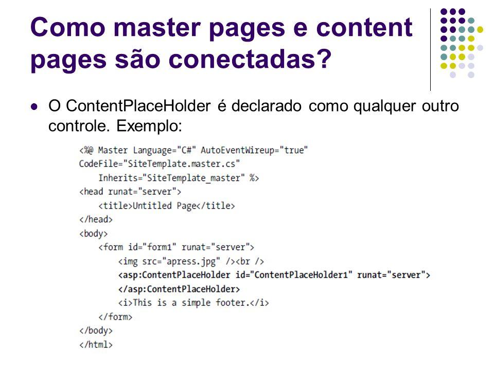 Como master pages e content pages são conectadas.