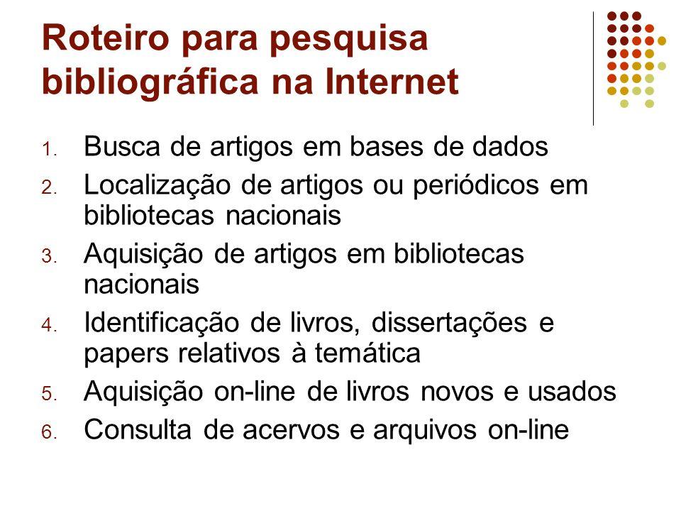 1. Busca de artigos em bases de dados 2.