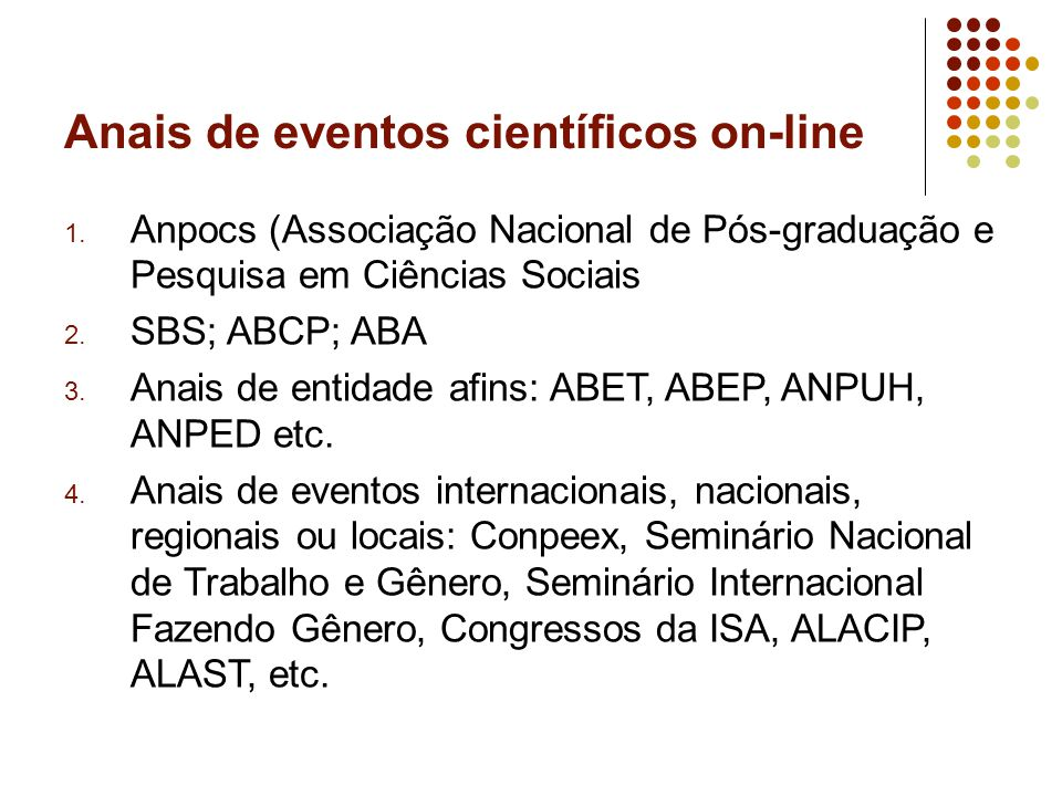 Anais de eventos científicos on-line 1.