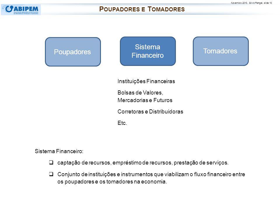 Novembro 2013, Silvio Rangel, slide 10 Instituições Financeiras Bolsas de Valores, Mercadorias e Futuros Corretoras e Distribuidoras Etc. Poupadores T