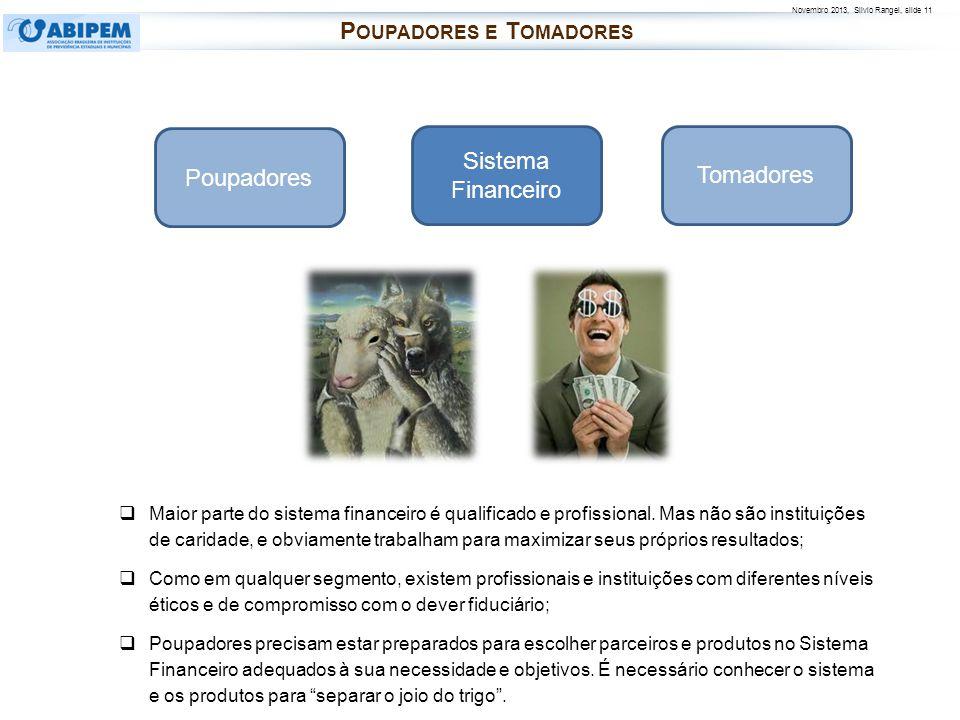 Novembro 2013, Silvio Rangel, slide 11 Poupadores Tomadores Sistema Financeiro Maior parte do sistema financeiro é qualificado e profissional. Mas não