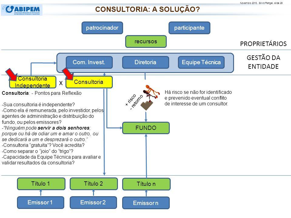 Novembro 2013, Silvio Rangel, slide 29 A diretoria e o conselho devem se valer do suporte de consultores independentes, e também precisam ter condições de fazer avaliação crítica dos resultados, e identificar eventuais conflitos de interesses.