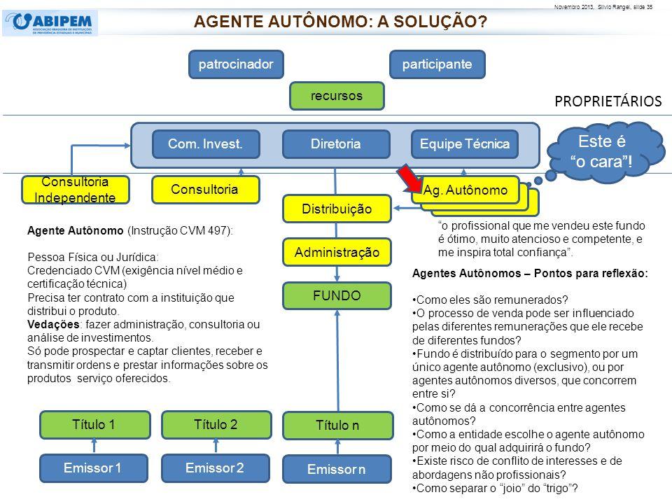 Novembro 2013, Silvio Rangel, slide 36 Fonte: INFOMONEY: site http://www.infomoney.com.br/agente - autonomo -de-investimento Textos extraídos de comentários no site sobre a matéria: AGENTE AUTÔNOMO: A SOLUÇÃO?