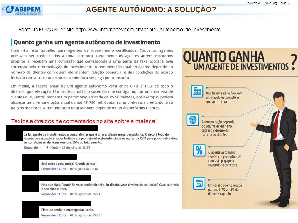 Novembro 2013, Silvio Rangel, slide 36 Fonte: INFOMONEY: site http://www.infomoney.com.br/agente - autonomo -de-investimento Textos extraídos de comen